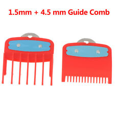1.5+4.5mm Size Guide comb  Red Attachment Comb Set with a Metal Holder Clip wy