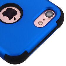 iPhone 7 / 8 - HARD & SOFT Rubber Hybrid Armor Skin Case Cover Dark Blue / Black