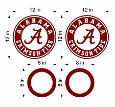 "(2) 12"" Alabama Crimson Tide Cornhole Decals w/ 2  6"" circles vinyl decal kit"