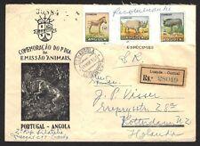 Angola 1953 Wildlife ESPECIMENS envelope with cutouts regd to Holland ex Jim Czy