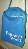 Vintage Pan Am Airline Carry on Tote PAN AM's WORLD - blue with neon green