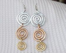 Triple Spiral Earrings, Hammered Aluminum, Silver, Rose G, Gold,Lightweight, NEW