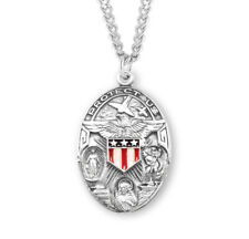 """Sterling Silver Oval Military Medal  (Jesus, Mary + St Christopher) + 24"""" Chain"""