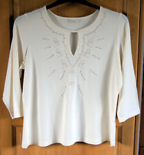 LADIES SIZE 16 M&S T-SHIRT TOP WITH STRETCH. EMBROIDERY & TRANSLUCENT SEQUINS