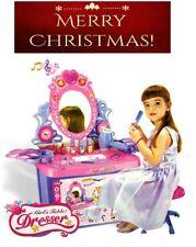 Children's Vanity Table Girls Dressing Table With Stool & Mirror Light & Music