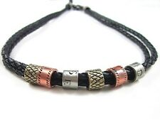 NEW Leather Men's Metal Surfer Braided Necklace Choker