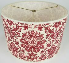 """NEW Drum Lamp Shade 15"""" Dia 10"""" H Traditional Red Floral Fabric"""