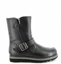 Ella Shoes Walnut Ankle Faux Leather Fur Vegan Boots Winter Zip Black L87