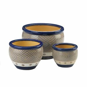 HOME GARDEN DECOR CERAMIC COBALT PLANTER TRIO