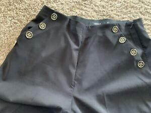 Torrid Black Stretch High Waisted Front Button Sailor Trouser Pants Size 18 R