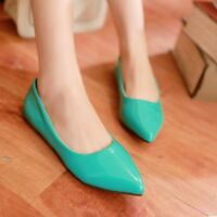Casual Women's Pumps Shoes Slip On Pointed Toe Solid Flats Patent Leather Sweet
