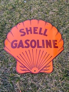 "VINTAGE SHELL GASOLINE 18"" PORCELAIN SIGN GAS OIL METAL STATION PUMP PLATE CLAM!"