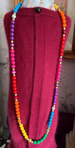 Long Rainbow Plastic Beaded Boho Statement Necklace Ideal For Pride Festival Etc
