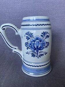 Lovely Delft Hand Painted Beer Mug Stein Floral Blue & White Ex Con