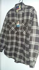 Wrangler mens l/s shirt jacket new flannel fleece lined 4 pockets plaid brown S