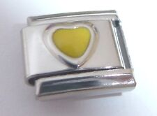 YELLOW LOVE HEART Italian Charm November Birthstone fits Classic Bracelets 9mm