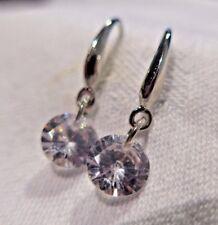 Silver Plated 925 8mm Crystal CZ Drop Dangle Hook Earrings GREAT PRICE