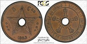 CONGO Free State 1888 5 CENTIME (not 1888/7 overstrike) PCGS AU58BN
