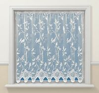 VICTORIAN DELICATE SONG LOVE BIRDS WHITE LACE NET CURTAIN SOLD  BY THE METRE