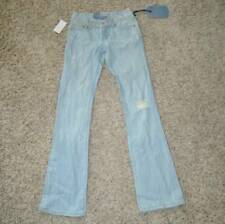 NWT $59-Juniors Girls Seven7 Lite Blue Distressed Bootcut Embroidered Jeans-sz 1