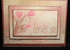 """Handmade""~3D FLOWERS AND GOLD TRIM GET WELL SOON CARD~BY D~#GW13"