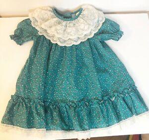 VTG Disney Size 4T Dress Winnie the Pooh Green Floral Lace Ruffles Short Sleeve