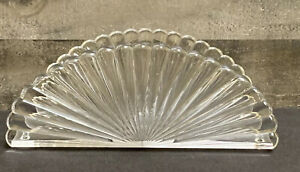 Vintage Fan Design Clear Vanity Acrylic Plastic Lucite Tissue Napkin Holder