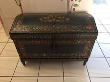 Antique Signed Painted Camphor Wood Brass Bound Leather Chest Trunk Floral