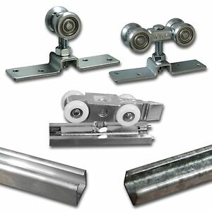 Schiebetürsystem Laufschiene Laufprofil Alu + Stahl Laufteil Beschlag Laufwagen