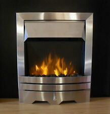 ELECTRIC BRUSHED SILVER PEBBLE COAL LED FLAME 2KW INSERT INSET FIREPLACE FIRE