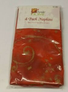 4 Pack Red & Gold Star Glitter Cloth Napkins 17inX17in. NEW In Pkg December Home