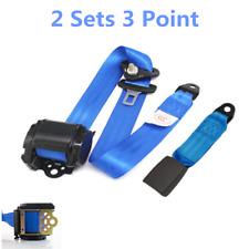 2x Adjustable Retractable 3 Point Car Truck Safety Seat Belt Blue Seatbelt Kit