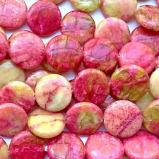 Serpentine 18mm Mottled Pink Yellow Coin Semi Precious Stone Q10 Beads per Pkg