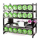 19GPU Open Air Mining Rig Case Frame with 18 Fan Ethereum Alumimum Miner Rack
