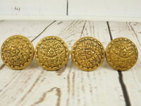 Lot of 4 Brass Door Knob Vintage Ornate Round Antique Architectural Salvage
