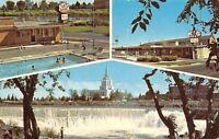Idaho Falls Idaho~Falls View Motel~Swimming Pool 1950s Postcard
