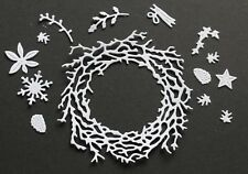 6 Signature Dies 'Twiggy Wreath' die-cuts on white card