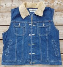 TOMMY HILFIGER JEANS Faux Fur Lined Denim Vest Sleeveless Jacket RARE VTG