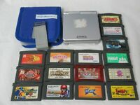 L785 Nintendo Gameboy Advance SP console Silver & 15 Game Japan GBA Mario