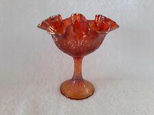 Fenton Persian Medallion Orange Carnival Glass Iridescent Compote