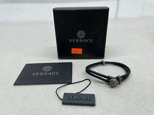 Versace Black Medusa Leather Bracelet