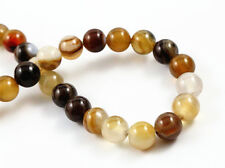 8mm Round Natural Agate Beads | Coffee Colours