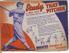 1939 Wheaties Cereal Panel, Series 12, Baseball, Mel Ott, New York Giants, Good