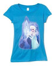 NEW Disney Frozen Elsa Blue Girls Juniors T Shirt Size Medium