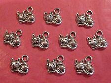Tibetan Silver Cat Charm 10 per pack