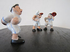 VINTAGE PORCELAIN SET OF 3 MINI BASEBALL PLAYERS, JAPAN