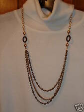 chain pearl necklace Nwt Coldwater Creek tri color gold