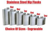 Hip Flask Plain Stainless Steel Whiskey Pocket Flask Gift Engravable 3oz - 8oz