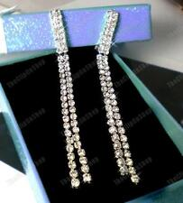 "CLIP ON 3.5""long CRYSTAL RHINESTONE sparkly EARRINGS non-pierced diamante SLINKY"