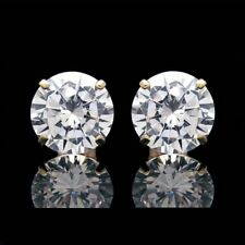10 mm Big Solitaire Moissanite Stud Earrings 14k Yellow Gold Finish Fine Jewelry
